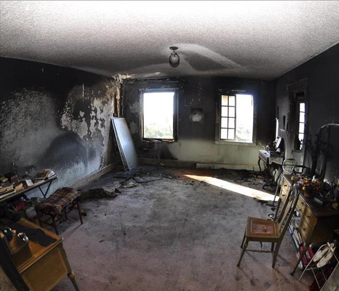 Bedroom Fire cleanup and repair  Before